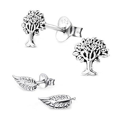 sl-silver Lot de 2boucles d'oreilles feuilles et arbre de vie Argent 925en boîte cadeau