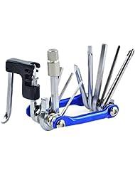 11in1 Bicicleta bicicleta cadena de remache extractor Mini Pocket reparación plegable herramientas color azul
