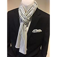 Exklusiver Herren Schal mit passendem Einstecktuch in Grau-Weiß gestreift aus Reiner Baumwolle