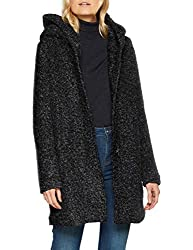 ONLY NOS Damen ONLSEDONA Boucle Wool Coat OTW NOOS Mantel, Schwarz(BlackMELANGE), 36 (Herstellergröße: S)