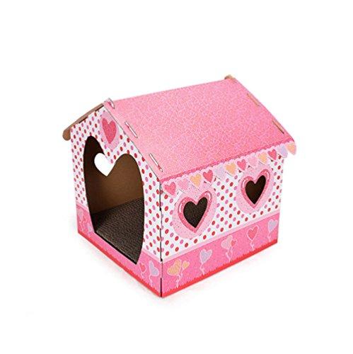 DJVD Wellpappe Cat Scratcher Lounge Haus Bett DIY Kombination Montage Schleifen Klaue Katze Mit Fenster Cat Entertainment Rest Dual-Use-Katzenspielzeug,C