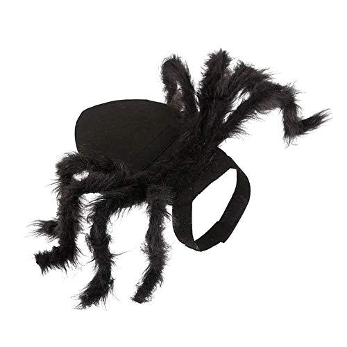 Sungpunet Einstellbare Spinne Katzen-Kostüm-Spinnen-Halloween-Haustier Individuelle Welpengeschirr Kleidung für Halloween Festival Cosplay Party-Schwarz-S 1PC (Spinne Kostüm Katze)