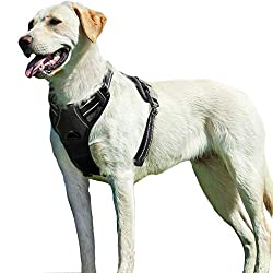 No Pull Dog Harness Large Black, Front Clip Vest Harness Dog Car Harnesses with Handle Puppy Chest Padded Adjustable Reflective Breathable Mesh Lightweight Easy Control for Outdoor Walking