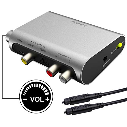 Avantree DAC DA Wandler Digital Analog Wandler Audio Konverter, SPDIF Toslink Adapter mit Optisch Kabel, Volume Control, 192Hz, TV Optisch Koaxial Input, Kopfhörer Lautsprecher 3.5mm AUX RCA L/R Output