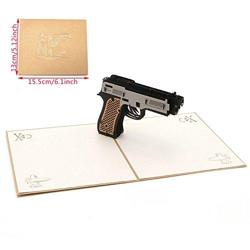 kofun-Grußkarte mit Umschlag, 3D Pistole Pop Up Grußkarte Frohe Weihnachten Geburtstag New Year Einladung Papier Karten handgefertigt Craft Valentines Weihnachten Einladung Karte Frohe Weihnachten Karten