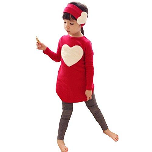 Bekleidungsset Baby Mädchen IHRKleid® Top Langarm Shirt + Pants + Blumen-Stirnband Kleidung Set Outfits (120, 4-5 Jahren, Rot) (Langarm-fleece-shirt)