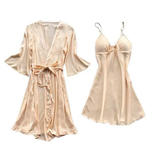 bloatboy Frauen Sexy Satin Lace Silk Dessous Nachthemd Robe Pyjamas Bademantel Nachtwäsche Set (Sexy Silk-roben)