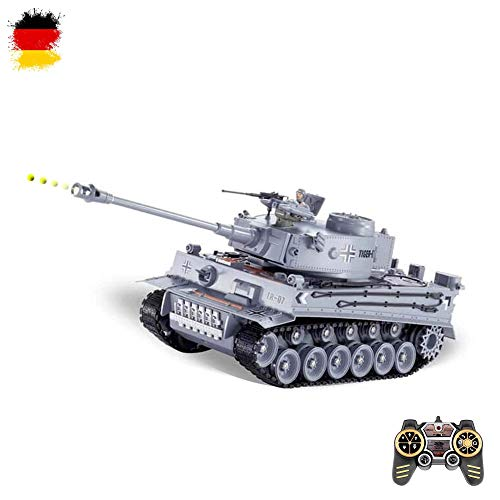German Tiger I - RC ferngesteuerter 1/18 Panzer mit BB-Airsoft Schussfunktion,Komplett-Set,Munition