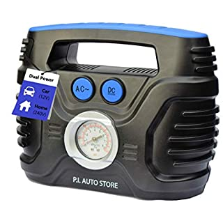 P.I. Auto Store - Tyre Inflator - Dual Electric Power 12V DC (vehicle) OR 240V AC (mains). Portable Air Compressor Pump - Top Car Accessories for Men