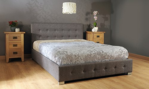 Comfy Living 5ft Kingsize Fabric Ottoman Storage Bed in Grey
