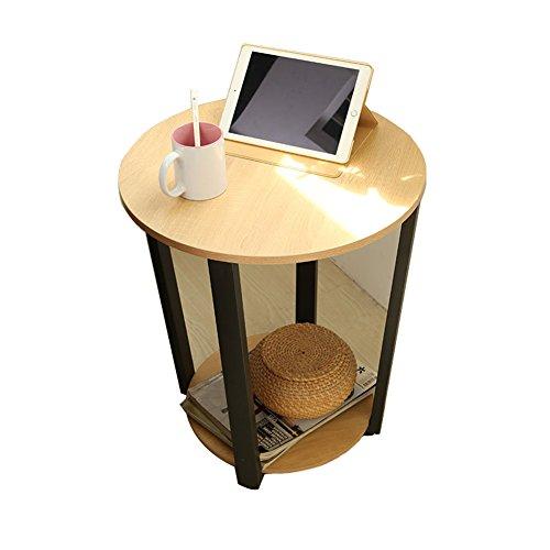 CTGAB laptoptisch- Moderne Sofa-Seitenschränke, um Schmiedeeisen Glas Kleinen Runden Tisch zu diskutieren (Farbe : Yellow Oak) - Glas-modernen-sofa-tisch