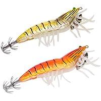 Orange 2 Stücke Tintenfisch Haken Fischköder Leuchtende Holz Garnelen