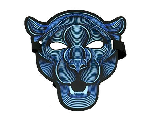 chaktive LED-Maske für Raves Festival Techno EDM Clubs Motto Partys elektrisch stufenlos einstellbar, Komfortables ABS Material Style Tiger ()