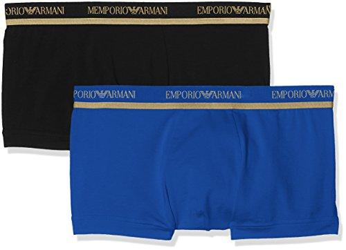 Emporio Armani Underwear Herren Boxershorts 2er Pack Mehrfarbig (Nero/Blu Elettrico 39920)