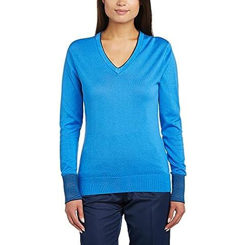 Ashworth Solid Pima V-Neck - Sudadera de golf para mujer, color azul, talla XS