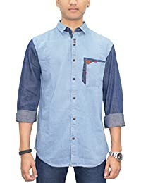 Kuons Avenue Blue Mix N Match Long Sleeve Denim Casual Party Shirt