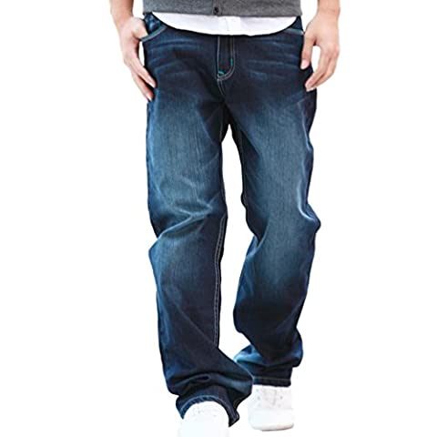 NiSeng Men's Retro Jeans Casual Loose Baggy Fit Jeans Stretch Denim Long Pants Blue 40