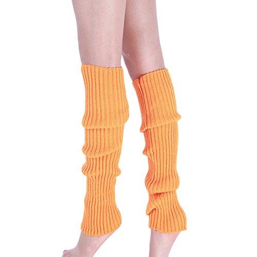 Goosuny Damen Stulpen Boot Manschetten Wärmer Stricken Bein Strümpfe Einfarbig Winter Absatz Beinwärmer Dicke Socken Stiefel Cover Beinlinge Kniesocken Legwarmers Beinstulpen(Orange) -