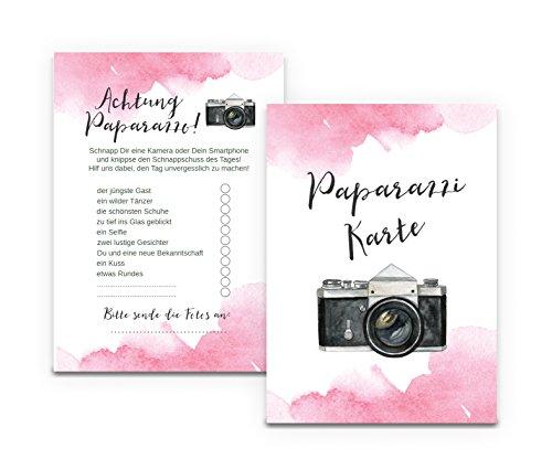 """Fotokarten\""""Aquarell Hochzeit\"""" 50 Stück, Fotoralley Hochzeitsspiel"""