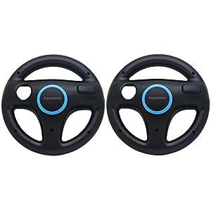 Expresstech @ Lenkrad Wheel 2Pcs Lenkräder Racing Wheel SET Nintendo Wii WII U Schalter Joy-Con Joycon Controller Gamepad controller Joy Cons Mario Kart – Schwarz