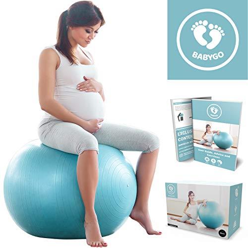 BABYGO Gymnastikball Schwangerschaft Sitzball Büro Schwangere Yoga Pezziball 65cm + KOSTENLOSE ÜBUNGSHEFT für Geburt Rückbildung Beckenbodentraining & Fitness Anti-Burst 500 KG Pezzi Ball