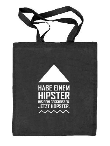 Shirtstreet24, Hipster Hopster, Natur Stoffbeutel Jute Tasche (ONE SIZE) schwarz natur