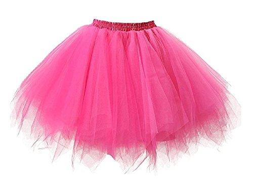Tutu Damenrock 80er Jahre Neon Tütü Damen Rock Tüllrock Petticoat Pettiskirt 50er Vintage Tutu Kurze Ballet Rock Tanzkleid Unterrock Unterkleid Pink für Frauen Erwachsene 1980s Fancy Dress (pink)