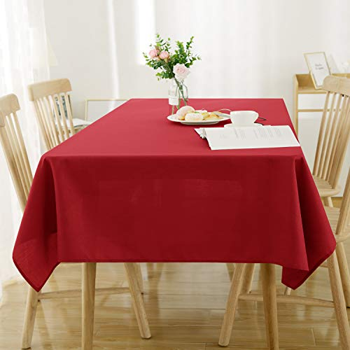 Deconovo Tischdecke Wasserdicht Tischdecke Lotuseffekt Tischtuch Leinenoptik 140x200 cm Rot