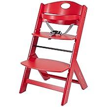 BabyGO 5855 Treppenhochstuhl Holz aus Buche Massiv - mitwachsend, rot