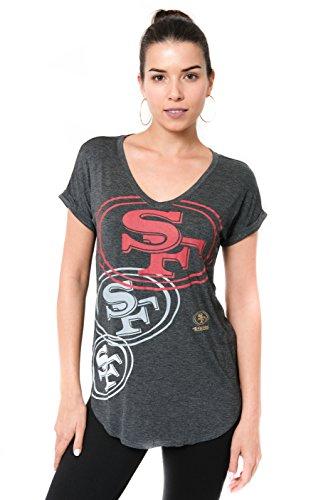 ICER Brands Damen T-Shirt NFL V-Ausschnitt Soft Modal Tee Shirt Team Color, Damen, Jersey T-Shirt Mesh Varsity Stripe Tee Shirt, Team Color, grau, Medium