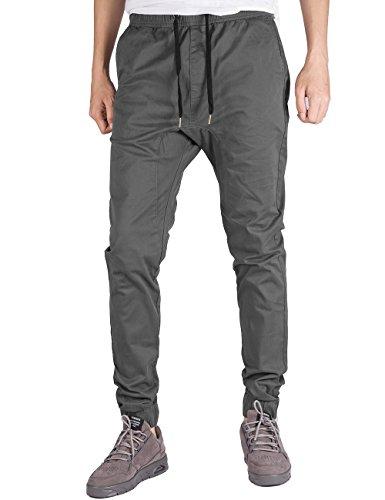 Twill Jogger Pants Für Männer (Italy Morn Herren Jogger Chino Hose Sweatpants Sporthose Jogging Baggy Jogginghose Slim Trainingshose Cargo Pants Twill Schwarz (IT018-L, Dunkelgrau))
