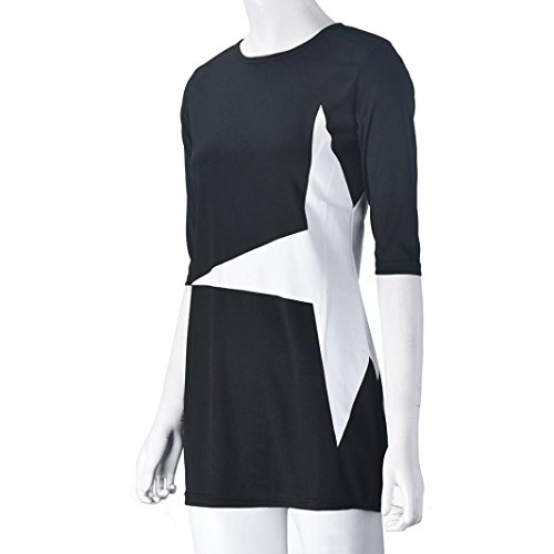 Amlaiworld Femmes Automne hiver Star imprimé Mini robe Sport Noir