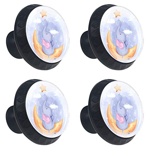 4 Pieces Set Cabinets Hardware Round Furniture Knobs Baby Elephant Reach Star Moon Print,Drawer Dresser Cupboard Wardrobe Pulls Handles for Home Kitchen -