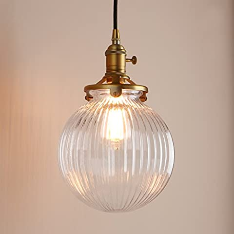 Pathson Industrial Vintage Modern Victoria Hanging Ceiling Pendant Light Fixture Loft Bar Kitchen Island Chandelier with Ribbed Globe Clear Glass Shade (Antique)