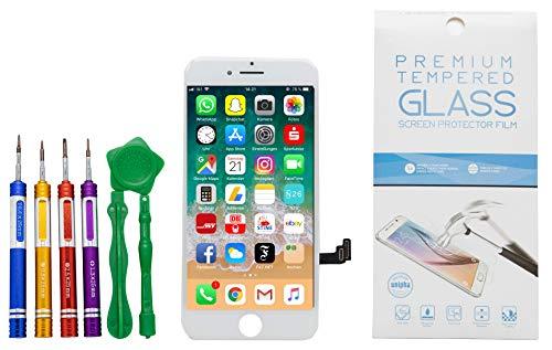 GIKEB Ersatzdisplay für iPhone 7 Plus in weiß | funktioniert mit iOS 12 | komplettes LCD Retina Glas | Reparatur | mit Schutzfolie & Werkzeug | Deutscher Händler | 3D Touch | hohe Qualität