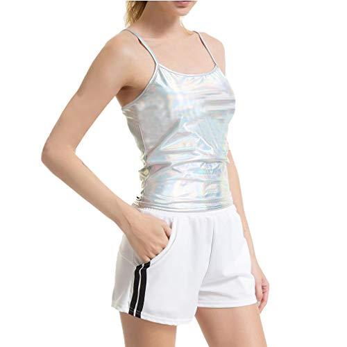 Juleya Frauen Shiny Wetlook Lackleder Spaghetti Schultergurte Sleeveless Weste Top Metallic Girls Dance Kostüme Clubwear Tank Top Laser S