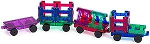 Playmags Conjunto de 20 Piezas de Tren Ahora con imanes más Fuertes, Resistentes y duraderos, con baldosas de Colores Vivos y Transparentes.