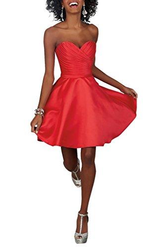 La_Marie Braut Beliebling Taft Herzausschnitt Cocktailkleider Partykleider Abendkleider Mini A-linie Kurz Rot