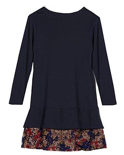 ZANZEA Femme S-XXL Tunique Robe Chemise Haut Pull Shirt Manches longues A-line Lâche Navy