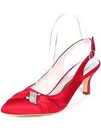 Eleoulck Zapatos De Novia De Mujer Plataforma De Marfil De Novia 35-42 TamañO Tacones Altos Hebilla Flor De Encaje/Vestido Medio