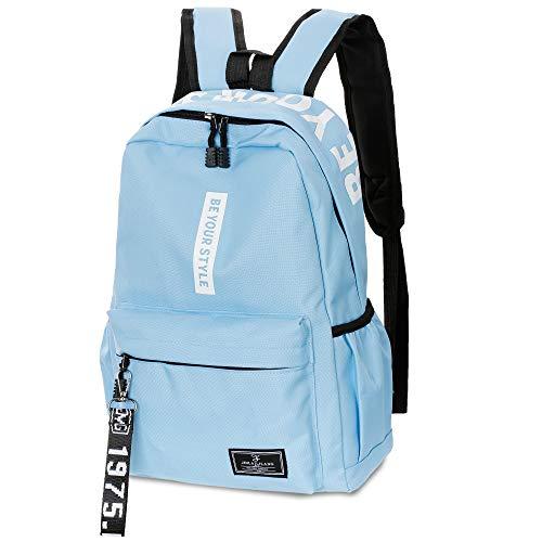 SANMIO Schulrucksack Mädchen Schultaschen Canvas Rucksack Schultasche Backpack Daypacks für Damen Herren geeignet für 15.6 Zoll Laptop Notebook (Blau)