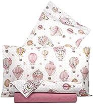 Completo letto lenzuola federe letto stampa fantasia 100% Cotone Made in Italy MATRIMONIALE MONGOLFIERE ROSA