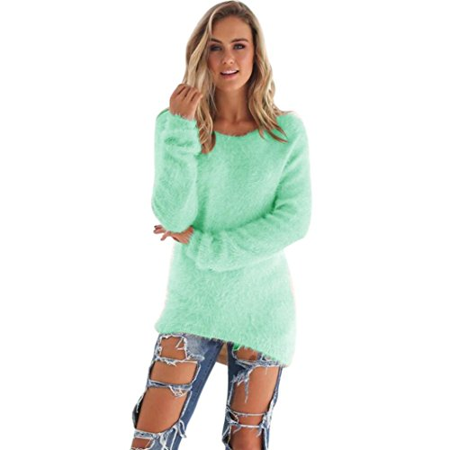 Pullover damen Sonnena O-Ausschnitt Einfarbig warm weich Lange Ärmel Sweatshirt Jumper Bluse Tops (Asian L, Grün) (Sterne Spandex)