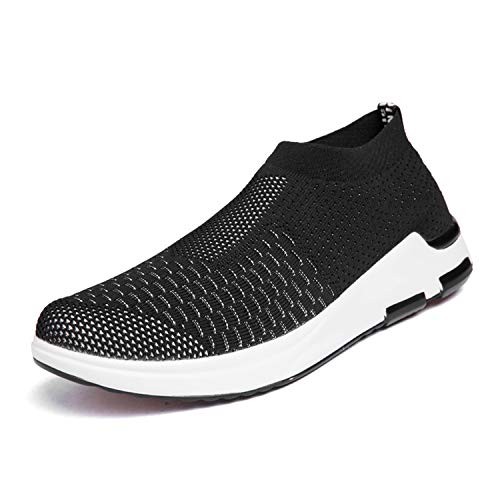 IceUnicorn Herren Sneaker Slip on Sportschuhe Turnschuhe Outdoor Leichtgewichts Laufschuhe Freizeit Atmungsaktive Schuhe(Schwarz,43EU)