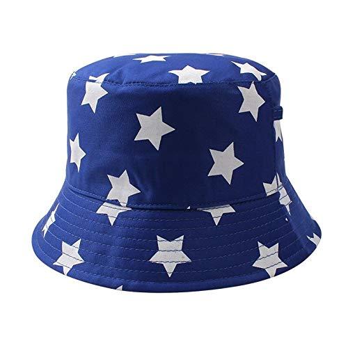 QQYZ Fashion Star Kinder Hut Casual Print Kinder Eimer Hut breiter Krempe Jungen Sonnenhut Mädchen Fischer Hut Herbst 3-6Y Kinder Kleidung 52CM-3-6 Jahre alt blau (Eimer-hut-stars)