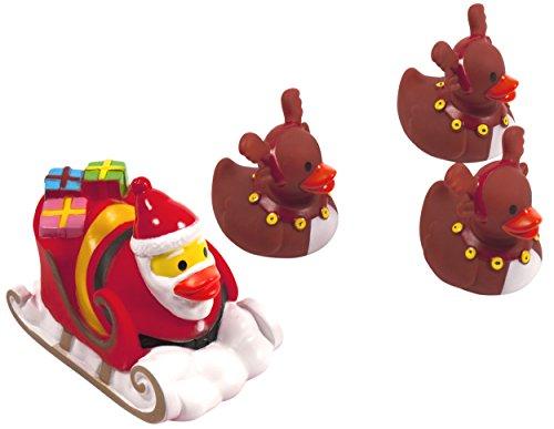 Bubbuls LED Ente, Badeente Schlitten mit Rentieren Weihnachten in Geschenkbox