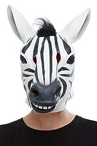 Smiffys 50882 - Máscara de látex para hombre, diseño de cebra, color blanco y negro