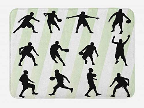 Black Runner Rugby (EJjheadband Rugby Stripe Bath Mat, Silhouette of Basketball Player Sports Hobby Athlete Illustration, Plush Bathroom Decor Mat with Non Slip Backing, 29.5 W X 17.5 W Inches, Pale Green Black White)