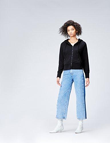 FIND Damen Kapuzenpullover mit Reißverschluss Schwarz (Black), 38 (Herstellergröße: Medium) - 2