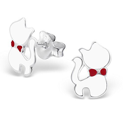 925 Silber Katzen Ohrringe in zwei veschiedenen Farben, schwarz und weiß von Monkimau, Kinder-Schmuck, Sterling Silber, Damen, Frauen, Mädchen-Ohrstecker (Weiß) (Gewicht-verlust-katze)
